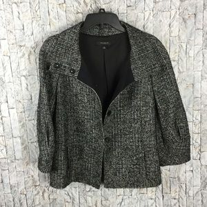 Ann Taylor cropped black/white tweed jacket Size M